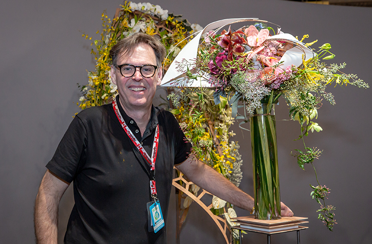 Paul Jaras with his FTD Interflora World Cup bouquet