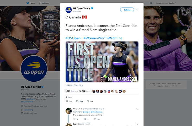 Photo from US Open Tennis Twitter
