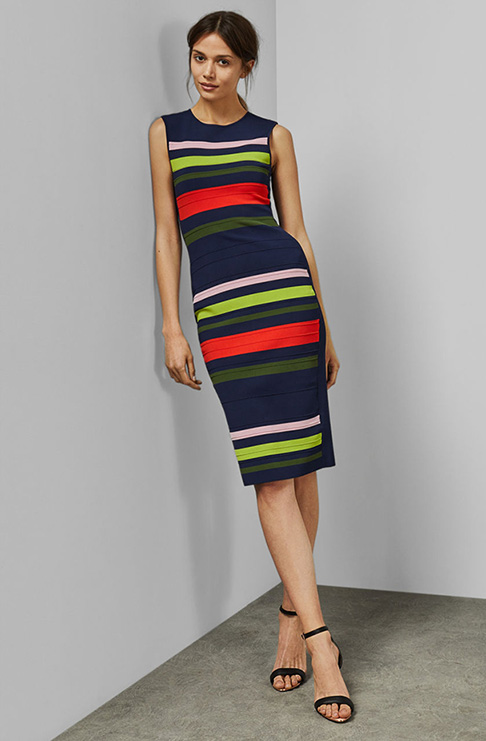 Ted Baker YSINA Stripe sleeveless knit bodycon dress