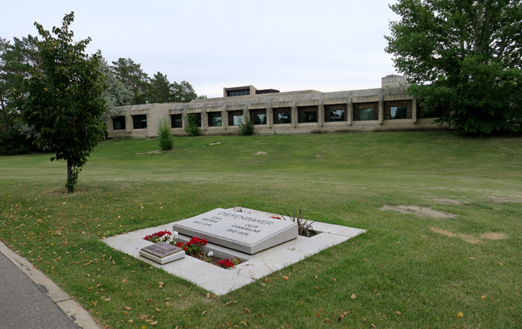 "The final resting place of John Diefenbaker, the 13th Prime Minister of Canada who introduced the Bill of Rights and extended voting rights to Aboriginal people. He was buried here with his wife Olive on the banks of South Saskatchewan River in Saskatoon. The building in the background is the Diefenbaker Centre for the Study of Canada. ""I am a Canadian, free to speak without fear, free to worship in my own way, free to stand for what I think is right, free to oppose what I believe is wrong, or free to choose those who shall govern my country. This heritage of freedom I pledge to uphold for myself and all mankind."" John Diefenbaker."