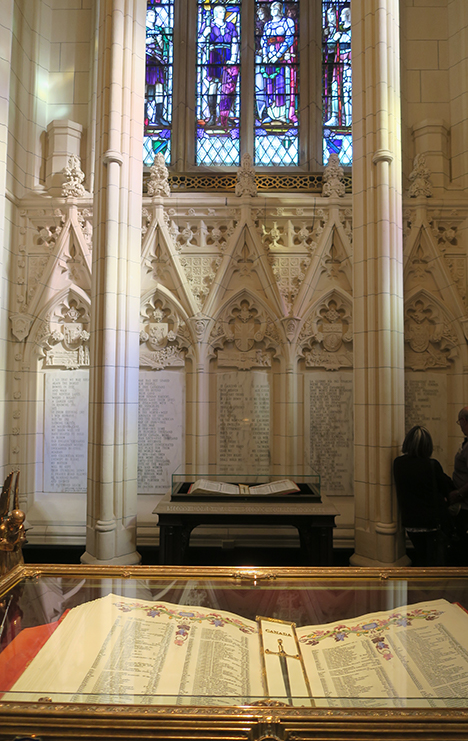 The Memorial Chamber at the heart of the Peace Tower in Ottawa. It is a national memorial for all Canadian men and women who made the ultimate sacrifice serving their country, during times of both war and peace, since Confederation.