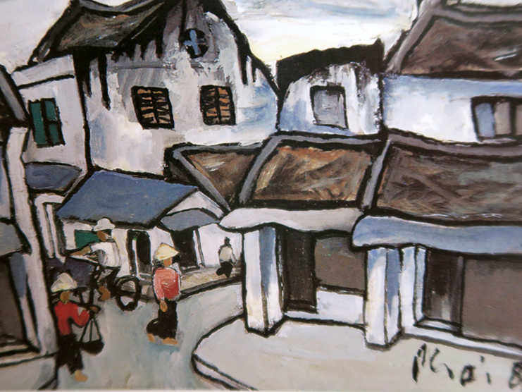 Phat Loc street, oil on cardboard.   Collection of Mr. Gim Ng.   This alley was named after the Phat Loc village, Thanh Quan district, Thai Binh province.