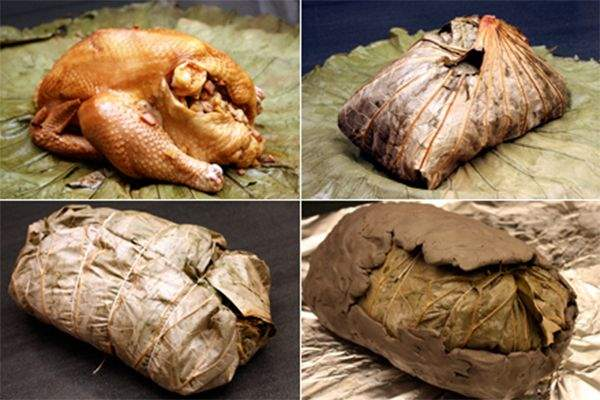 Clay Baked Chicken Wrapped in Lotus Leaves