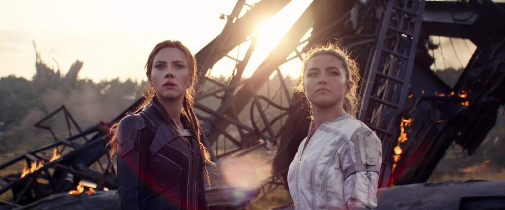 (L-R): Black Widow/Natasha Romanoff (Scarlett Johansson) and Yelena (Florence Pugh) in Marvel Studios' BLACK WIDOW, in theaters and on Disney+ with Premier Access.